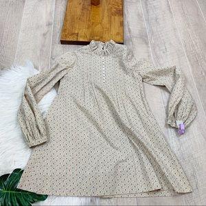Vintage Long Sleeve Printed Girls Dress 3220